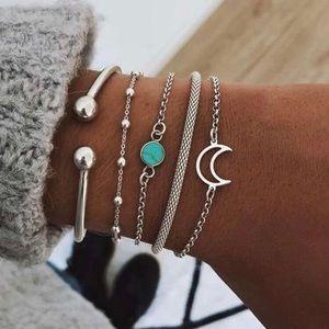 3/$33 5 Piece Silver & Turquoise Moon Bracelet Set